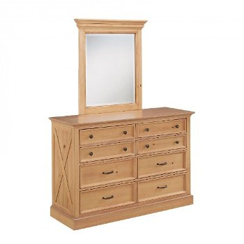 """Home Styles Country Lodge Dresser & Mirror in Pine, 54"""" W x 19"""" D x 36"""" H"""