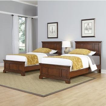 Twin Bed, Night Stand, and Student Desk with Hutch