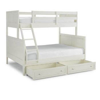 """Home Styles Naples Collection Twin Over Full Bunk Bed with Storage Drawers in Off White, 78-3/4"""" W x 58-1/2"""" D x 64-3/4"""" H"""