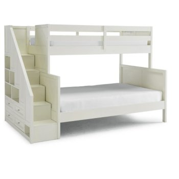 """Home Styles Naples Collection Twin Over Full Bunk Bed with Steps in Off White, 94-1/2"""" W x 57"""" D x 64-3/4"""" H"""
