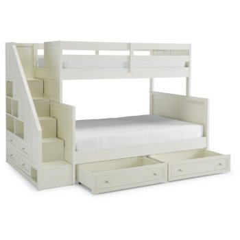 """Home Styles Naples Collection Twin over Full Bunk Bed with Steps & Lower Storage Drawers in Off White, 94-1/2"""" W x 57"""" D x 64-3/4"""" H"""