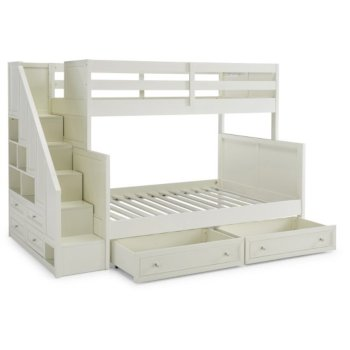 Full Bunk Bed w/ Steps & Storage Drawers Angle View