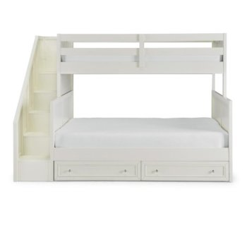 Full Bunk Bed w/ Steps & Storage Drawers Front View Illustration
