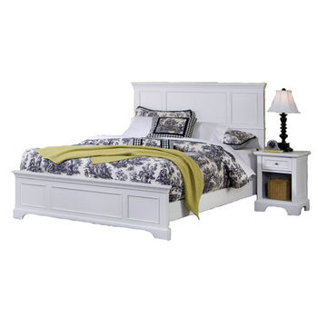 Home Styles Naples White King Bed and Night Stand