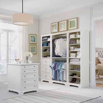 "Home Styles Naples 4-Piece Closet Organizer, White (3-Piece Wall Unit and 30"" Closet Island)"