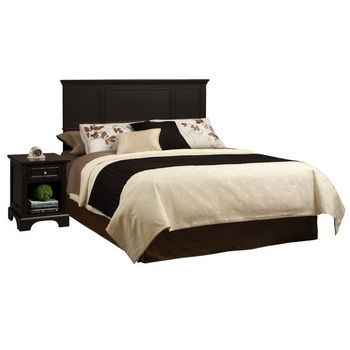 Home Styles Bedford Black King Headboard and Night Stand