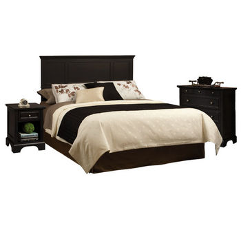 Home Styles Bedford Black King Headboard, Night Stand, and Chest