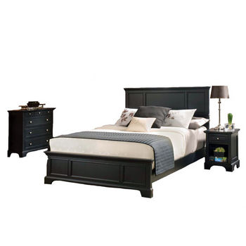 Home Styles Bedford Black King Bed, Night Stand, and Chest