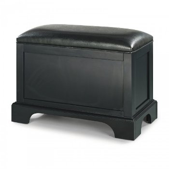 "Home Styles Bedford Storage Bench in Satin Black, 28-1/4"" W x 15"" D x 20-1/4"" H"