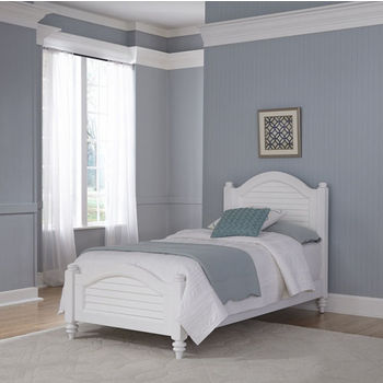 Home Styles Bermuda Complete Old World Tropical Twin Bed with Bunt Feet, 41-1/2''W x 83-1/2''D x 48''H in Brushed White Finish
