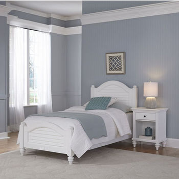 Home Styles Bermuda Complete Old World Tropical Twin Bed and Night Stand in Brushed White Finish