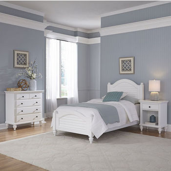 Home Styles Bermuda Complete Old World Tropical Twin Bed, Night Stand, and Chest in Brushed White Finish