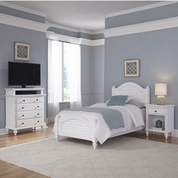 Home Styles Bermuda Complete Old World Tropical Twin Bed, Night Stand, and Media Chest in Brushed White Finish