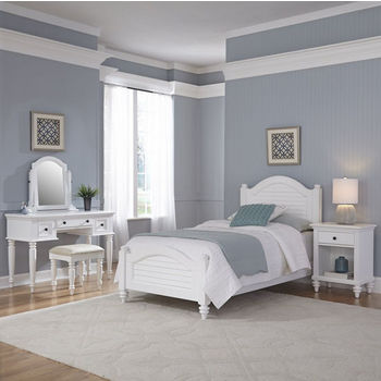 Home Styles Bermuda Complete Old World Tropical Twin Bed, Night Stand, Vanity with Bench in Brushed White Finish