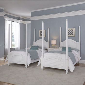 Home Styles Bermuda Two Old World Tropical Twin Poster Beds and Night Stand in Brushed White Finish