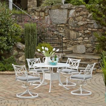 "Home Styles La Jolla Cast Aluminum Outdoor 42"" Round 5-Piece Dining Set in White Powder-Coated Finish, Set Includes: 42"" Table and (4) Swivel Rocking Chairs"