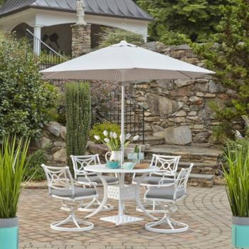 "Home Styles La Jolla Cast Aluminum Outdoor 42"" Round 5-Piece Dining Set w/ Umbrella & Base in White Powder-Coated Finish, Set Includes: 42"" Table and (4) Swivel Rocking Chairs"