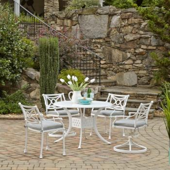 "Home Styles La Jolla Cast Aluminum Outdoor 42"" Round 5-Piece Dining Set in White Powder-Coated Finish, Set Includes: 42"" Table, (2) Arm Chairs, (2) Swivel Rocking Chairs"