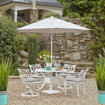 "Home Styles La Jolla Cast Aluminum Outdoor 42"" Round 5-Piece Dining Set w/ Umbrella & Base in White Powder-Coated Finish, Set Includes: 42"" Table, (2) Arm Chairs, (2) Swivel Rocking Chairs"