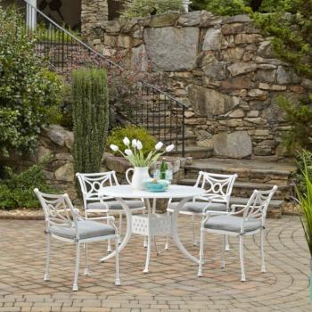 "Home Styles La Jolla Cast Aluminum Outdoor 42"" Round 5-Piece Dining Set in White Powder-Coated Finish, Set Includes: 42"" Table and (4) Arm Chairs"