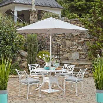"Home Styles La Jolla Cast Aluminum Outdoor 42"" Round 5-Piece Dining Set w/ Umbrella & Base in White Powder-Coated Finish, Set Includes: 42"" Table and (4) Arm Chairs"