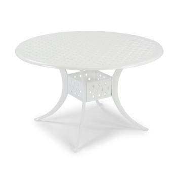 "Home Styles La Jolla Cast Aluminum Outdoor 48"" Round Dining Table in White Powder-Coated Finish, 48""Diameter x 28-3/4"" H"
