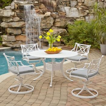 "Home Styles La Jolla Cast Aluminum Outdoor 48"" Round 5-Piece Dining Set in White Powder-Coated Finish, Set Includes: 48"" Table and (4) Swivel Rocking Chairs"