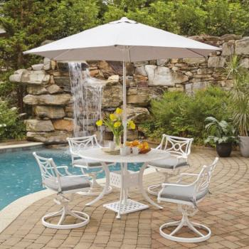 "Home Styles La Jolla Cast Aluminum Outdoor 48"" Round 5-Piece Dining Set w/ Umbrella & Base in White Powder-Coated Finish, Set Includes: 48"" Table and (4) Swivel Rocking Chairs"