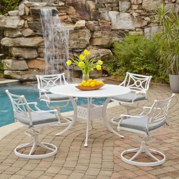 "Home Styles La Jolla Cast Aluminum Outdoor 48"" Round 5-Piece Dining Set in White Powder-Coated Finish, Set Includes: 48"" Table, (2) Arm Chairs, (2) Swivel Rocking Chairs"