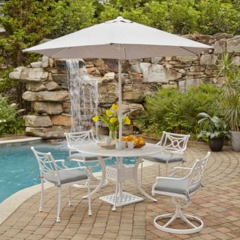 "Home Styles La Jolla Cast Aluminum Outdoor 48"" Round 5-Piece Dining Set w/ Umbrella & Base in White Powder-Coated Finish, Set Includes: 48"" Table, (2) Arm Chairs, (2) Swivel Rocking Chairs"