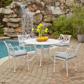 "Home Styles La Jolla Cast Aluminum Outdoor 48"" Round 5-Piece Dining Set in White Powder-Coated Finish, Set Includes: 48"" Table and (4) Arm Chairs"