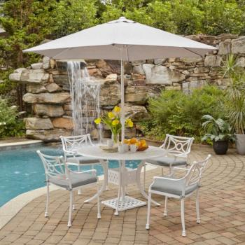 "Home Styles La Jolla Cast Aluminum Outdoor 48"" Round 5-Piece Dining Set w/ Umbrella & Base in White Powder-Coated Finish, Set Includes: 48"" Table and (4) Arm Chairs"