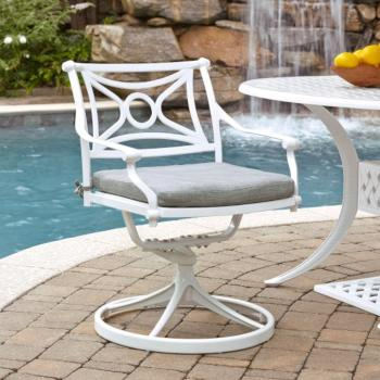 "Home Styles La Jolla Cast Aluminum Outdoor Swivel Rocking Chair in White Powder-Coated Finish, 24-3/4"" W x 23-3/4"" D x 31-1/2"" H"