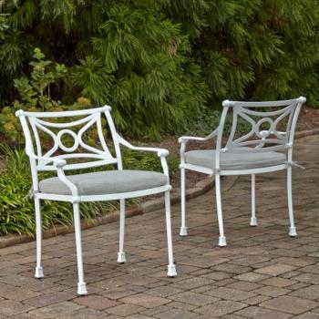 "Home Styles La Jolla Cast Aluminum Outdoor Pair of Arm Chairs in White Powder-Coated Finish, 24-3/4"" W x 23-3/4"" D x 31-1/2"" H"