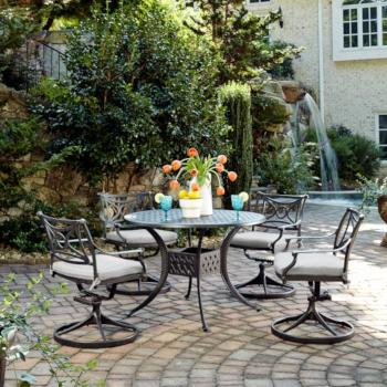 "Home Styles La Jolla Cast Aluminum Outdoor 42"" Round 5-Piece Dining Set in Gray Powder-Coated Finish, Set Includes: 42"" Table and (4) Swivel Rocking Chairs"