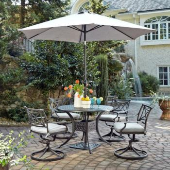 "Home Styles La Jolla Cast Aluminum Outdoor 42"" Round 5-Piece Dining Set w/ Umbrella & Base in Gray Powder-Coated Finish, Set Includes: 42"" Table and (4) Swivel Rocking Chairs"