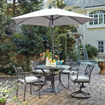 "Home Styles La Jolla Cast Aluminum Outdoor 42"" Round 5-Piece Dining Set w/ Umbrella & Base in Gray Powder-Coated Finish, Set Includes: 42"" Table, (2) Arm Chairs, (2) Swivel Rocking Chairs"