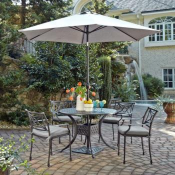 "Home Styles La Jolla Cast Aluminum Outdoor 42"" Round 5-Piece Dining Set w/ Umbrella & Base in Gray Powder-Coated Finish, Set Includes: 42"" Table and (4) Arm Chairs"