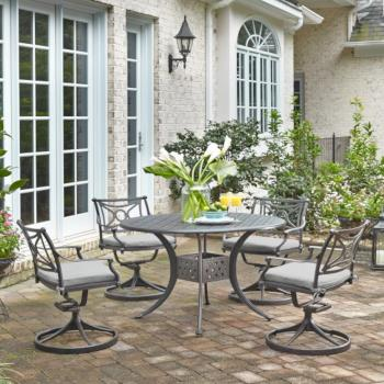 "Home Styles La Jolla Cast Aluminum Outdoor 48"" Round 5-Piece Dining Set in Gray Powder-Coated Finish, Set Includes: 48"" Table and (4) Swivel Rocking Chairs"