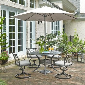"Home Styles La Jolla Cast Aluminum Outdoor 48"" Round 5-Piece Dining Set w/ Umbrella & Base in Gray Powder-Coated Finish, Set Includes: 48"" Table and (4) Swivel Rocking Chairs"