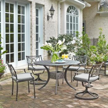 "Home Styles La Jolla Cast Aluminum Outdoor 48"" Round 5-Piece Dining Set in Gray Powder-Coated Finish, Set Includes: 48"" Table, (2) Arm Chairs, (2) Swivel Rocking Chairs"