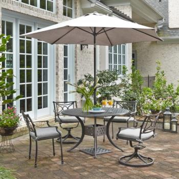 "Home Styles La Jolla Cast Aluminum Outdoor 48"" Round 5-Piece Dining Set w/ Umbrella & Base in Gray Powder-Coated Finish, Set Includes: 48"" Table, (2) Arm Chairs, (2) Swivel Rocking Chairs"