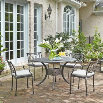 "Home Styles La Jolla Cast Aluminum Outdoor 48"" Round 5-Piece Dining Set in Gray Powder-Coated Finish, Set Includes: 48"" Table and (4) Arm Chairs"