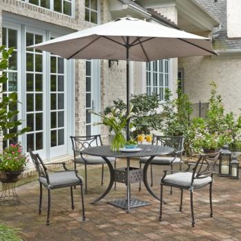 "Home Styles La Jolla Cast Aluminum Outdoor 48"" Round 5-Piece Dining Set w/ Umbrella & Base in Gray Powder-Coated Finish, Set Includes: 48"" Table and (4) Arm Chairs"