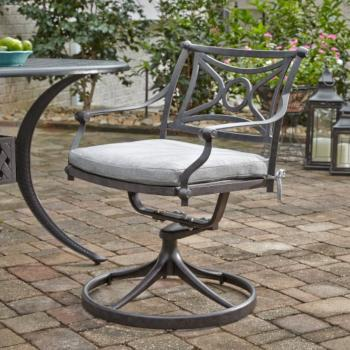 "Home Styles La Jolla Cast Aluminum Outdoor Swivel Rocking Chair in Gray Powder-Coated Finish, 24-3/4"" W x 23-3/4"" D x 31-1/2"" H"