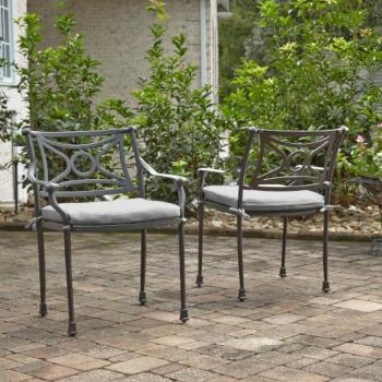 "Home Styles La Jolla Cast Aluminum Outdoor Pair of Arm Chairs in Gray Powder-Coated Finish, 24-3/4"" W x 23-3/4"" D x 31-1/2"" H"