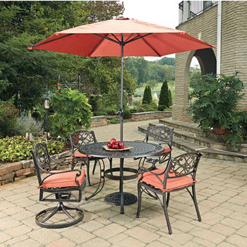 Home Styles Biscayne 7 Pc 48 Diameter Outdoor Dining Table With 2 Arm Chairs Swivel Rocking Umbrella