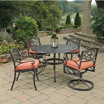 Home Styles Biscayne 5 Pc 48 Diameter Outdoor Dining Table With 2 Arm Chairs Swivel Rocking Rust Bronze