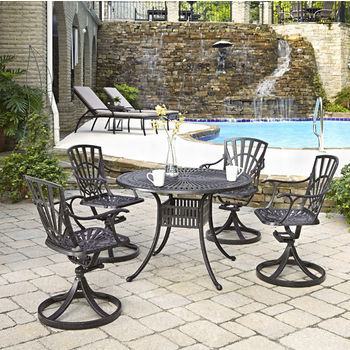 Home Styles Largo Collection 42'' Diameter 5-Piece Outdoor Dining Set (Includes: (1) Round Table and (4) Swivel Chairs), Charcoal Finish