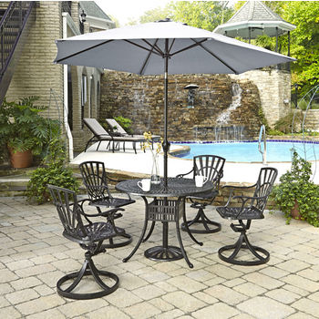 Home Styles Largo Collection 42'' Diameter 5-Piece Outdoor Dining Set w/ Umbrella (Includes: (1) Round Table, (4) Swivel Chairs, (1) Umbrella and (1) Umbrella Stand), Charcoal Finish